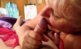 Lustful Blonde Granny Showing Off Her Cocksucking Talents