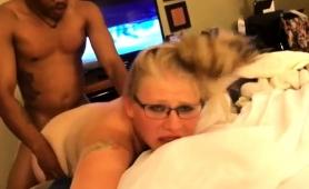 Nerdy Blonde Has A Dark Stud Fucking Her Peach From Behind