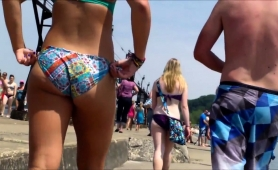 Beach Voyeur Chases A Delightful Babe With A Marvelous Ass