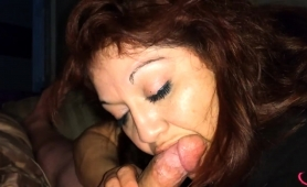 Curvaceous Mature Brunette Wraps Her Sexy Lips Around A Dick