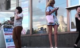 Sexy Slim Russian Blonde In White Panties Voyeur Upskirt