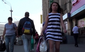Beautiful Russian Girl With Sexy Long Legs Voyeur Upskirt