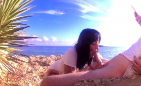 Naughty Brunette Reveals Her Blowjob Talents On The Beach
