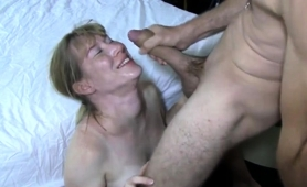 Buxom Mature Wife Worships A Big Cock And Gets Facialized