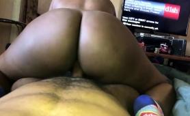 Ebony Wife With A Big Round Booty Enjoys A Hard Cock In Pov