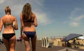Beautiful Amateur Teen In A Sexy Blue Bikini Goes For A Walk