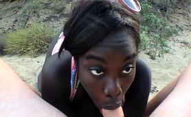 Curvy Black Beauty Sucks And Fucks A White Cock On The Beach