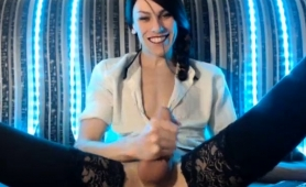 Sexy shemale in stockings strokes her cock on the webcam